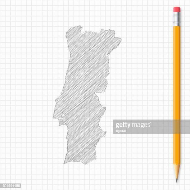 portugal karte skizze mit bleistift auf raster papier - portugal stock-grafiken, -clipart, -cartoons und -symbole