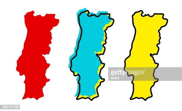 portugal map - portugal stock illustrations