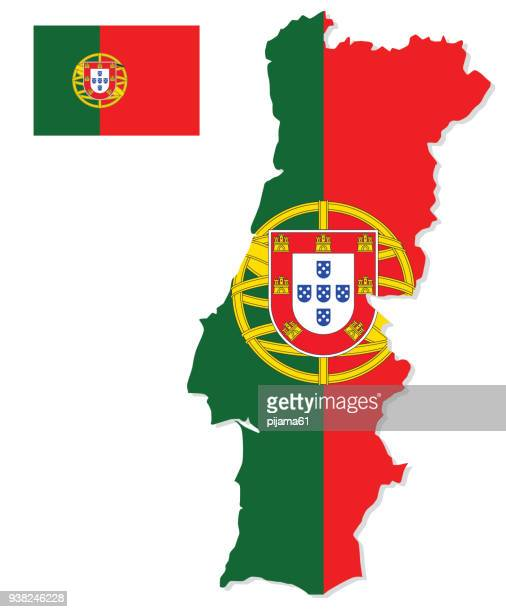 illustrazioni stock, clip art, cartoni animati e icone di tendenza di portugal map with flag - portugal