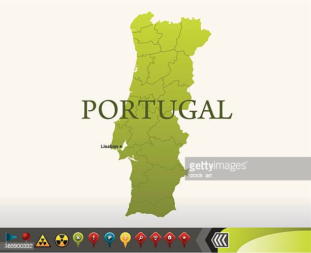 Portugal map with navigation icons