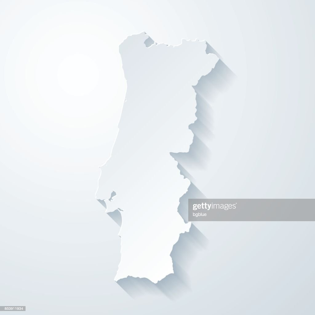 Portugal map with paper cut effect on blank background : stock illustration