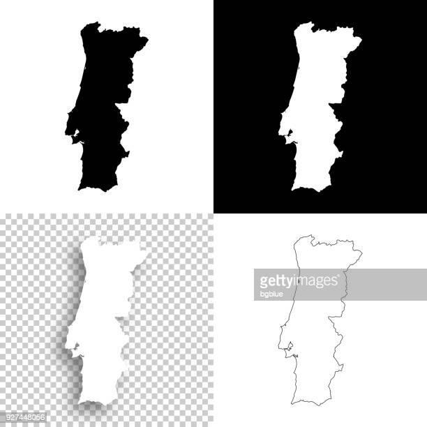 portugal-karten für design - leere, weiße und schwarze hintergründe - portugal stock-grafiken, -clipart, -cartoons und -symbole