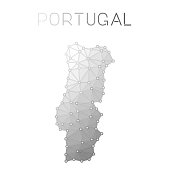 Portugal polygonal vector map.