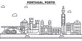 Portugal, Porto architecture line skyline illustration. Linear vector cityscape with famous landmarks, city sights, design icons. Landscape wtih editable strokes