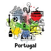 Portugal print design. Portuguese national traditional symbols and objects