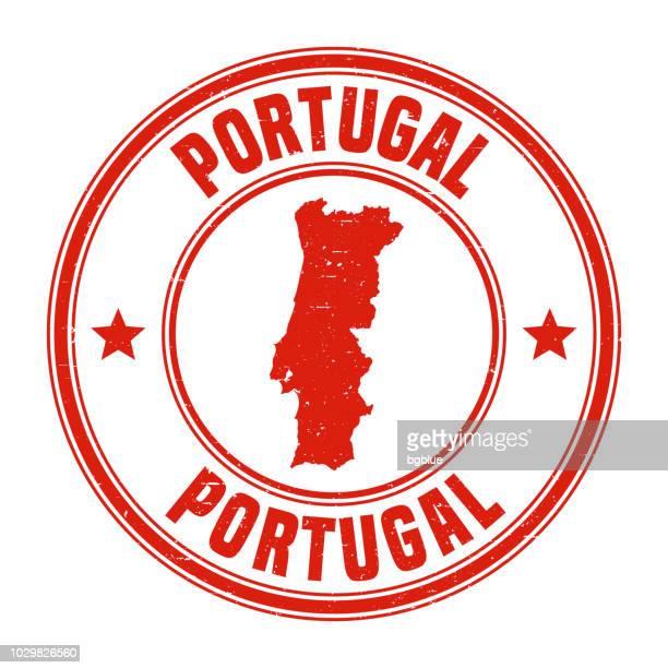 portugal - rote grunge-stempel mit namen und karte - portugal stock-grafiken, -clipart, -cartoons und -symbole