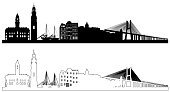 Portugal skyline silhouettes, vector illustration