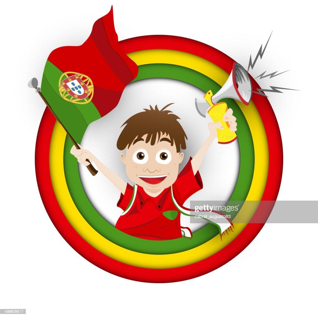 Portugal Fussballfan Flagge Comic Vektorgrafik Getty Images
