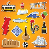 Portugal stickers set. Portuguese national traditional symbols and objects