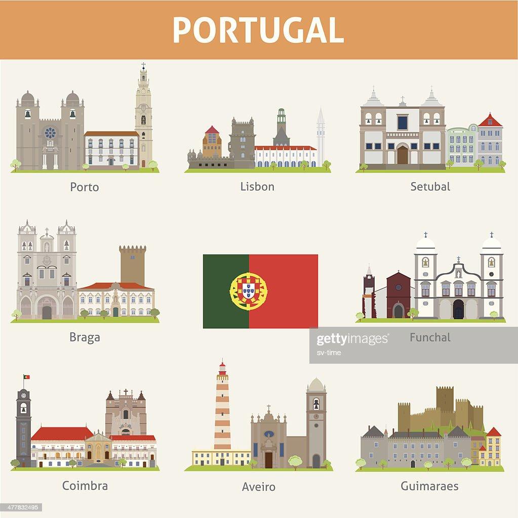 Portugal. Symbols of cities