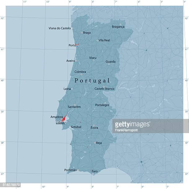 portugal vektor landkarte - portugal stock-grafiken, -clipart, -cartoons und -symbole