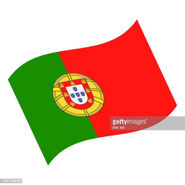 portugal - waving flag vector flat icon - portugal stock illustrations