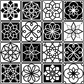 Portuguese Azulejo tiles design, seamless geometric patterns collection in black and white