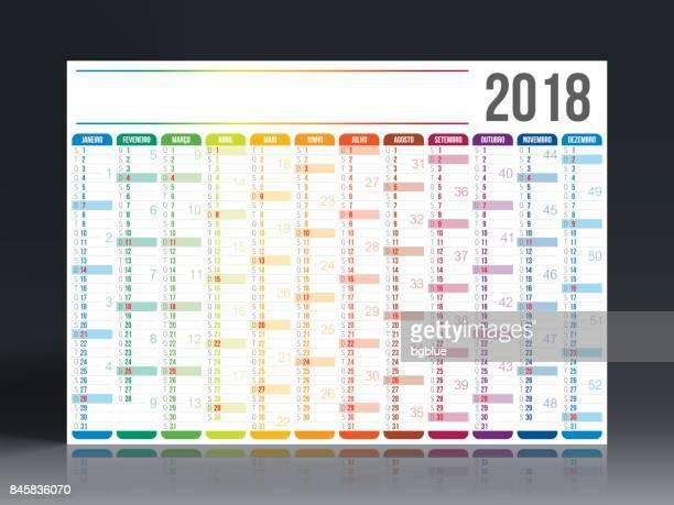 portuguese calendar 2018 - today single word stock illustrations