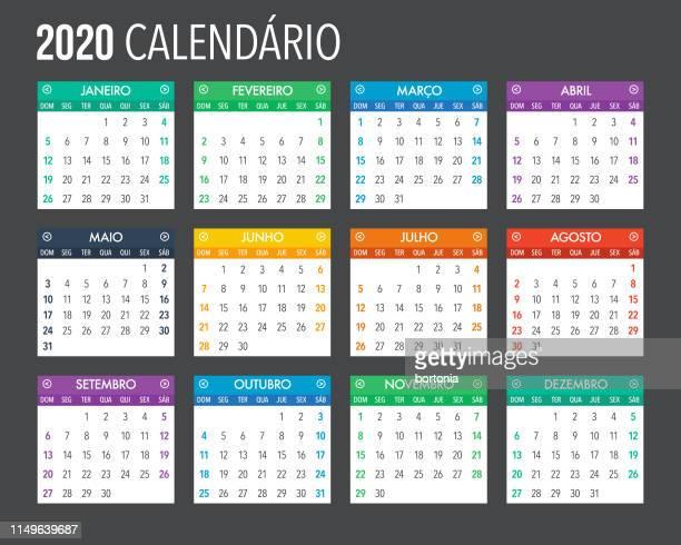 ilustrações, clipart, desenhos animados e ícones de 2020 modelo de calendário português design - cultura portuguesa