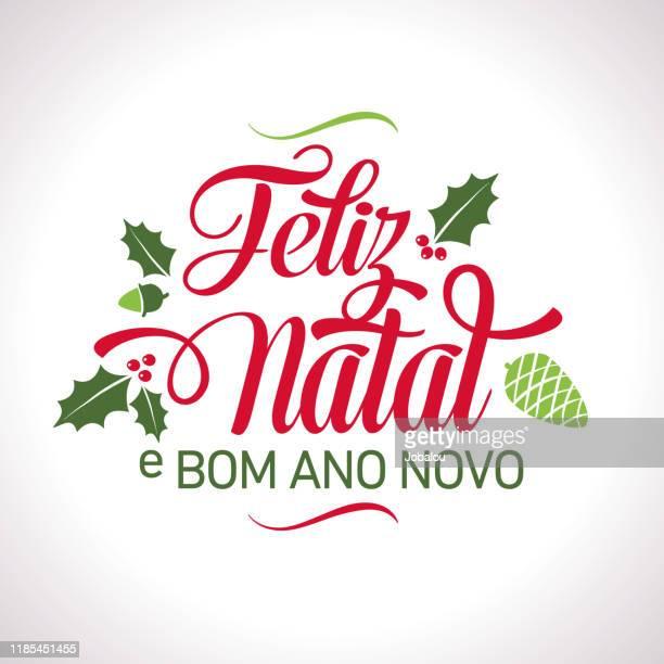 ilustrações, clipart, desenhos animados e ícones de texto português da letra feliz do natal - natal