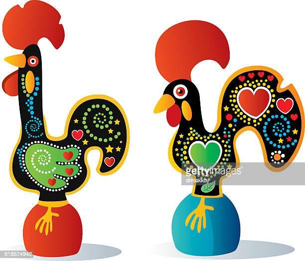 ilustrações, clipart, desenhos animados e ícones de galo português - cockerel