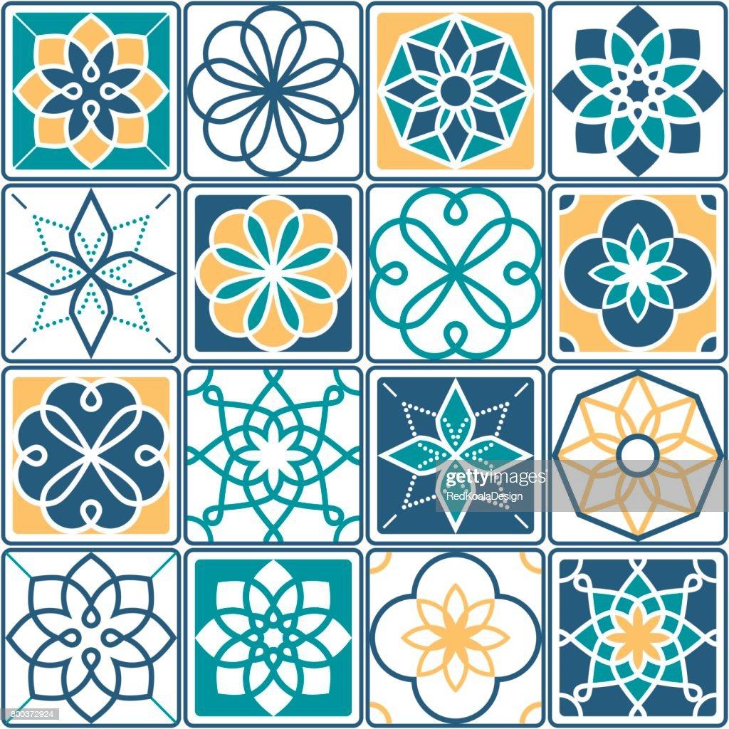 Portugiesische Fliesen Muster Azulejo Nahtlose Geometrische