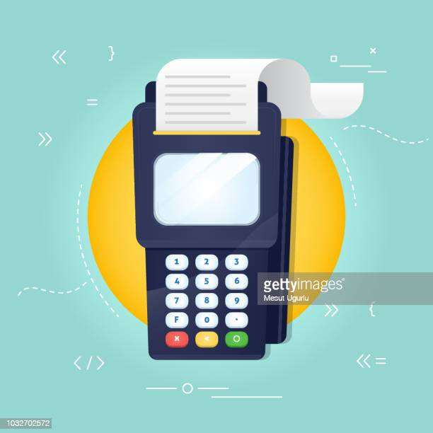 pos machine - credit card reader stock illustrations