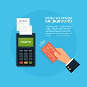 Pos terminal confirms the payment by debit credit card. nfc payment concept Vector illustration in flat style.