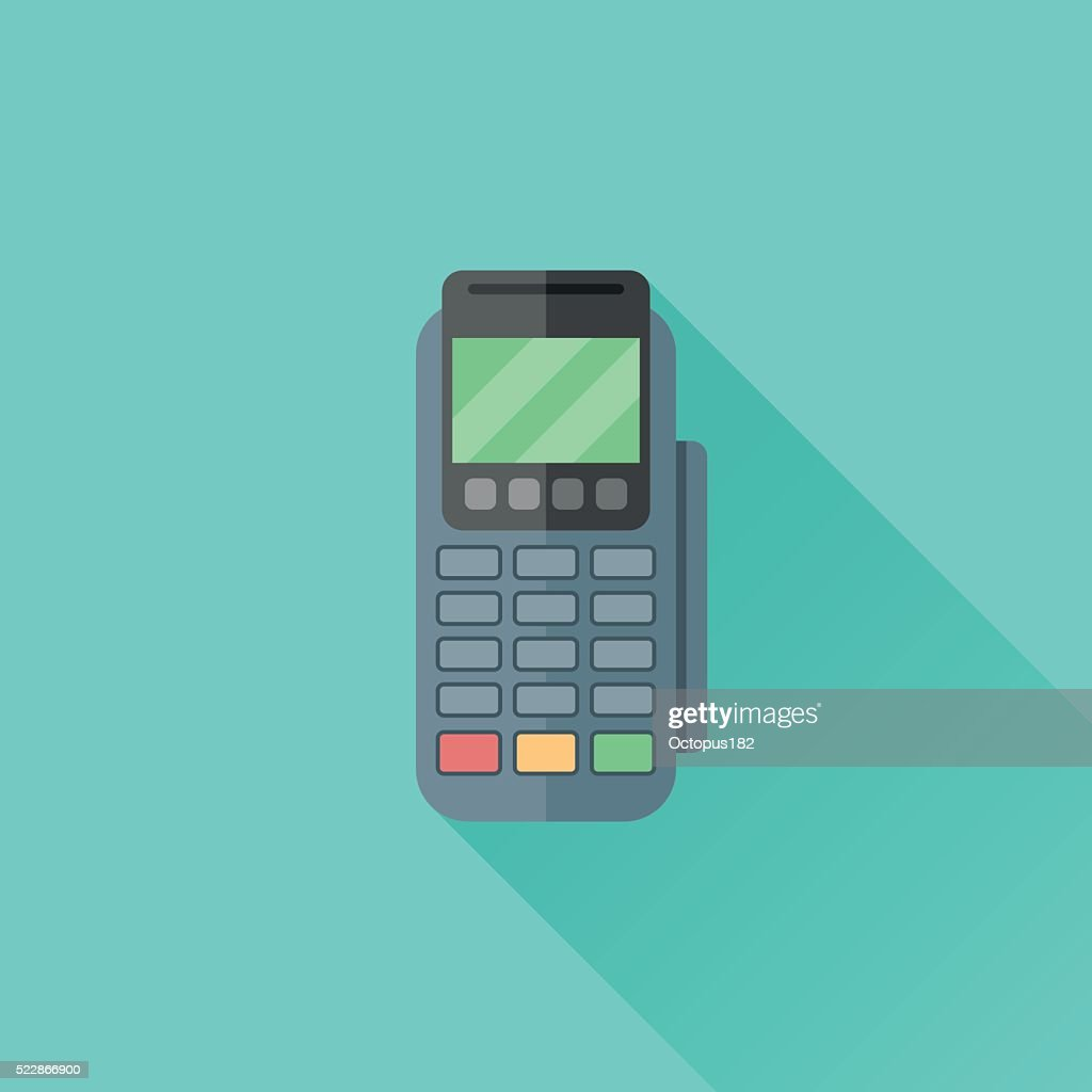 Pos terminal flat icon with long shadow