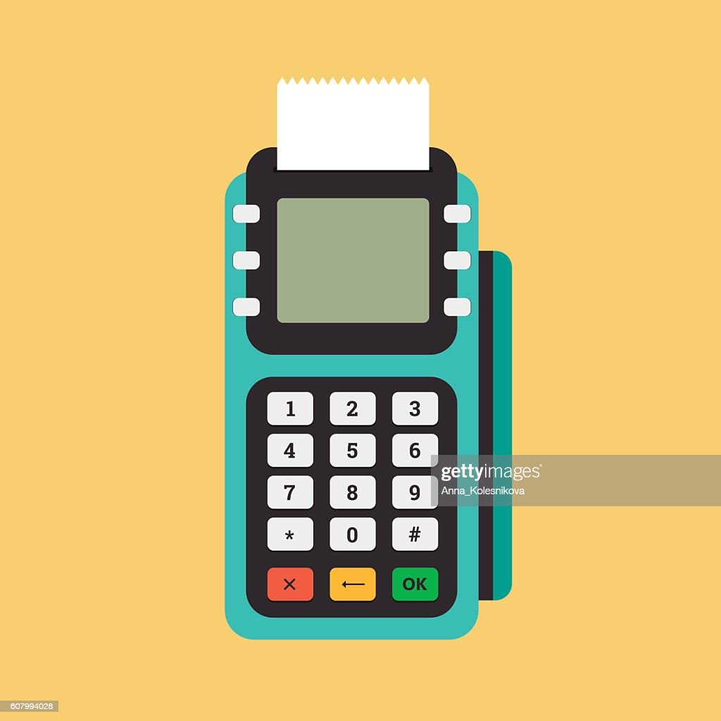 Pos terminal in flat style.