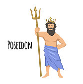 Poseidon, ancient Greek god of the sea with trident. Mythology. Flat vector illustration. Isolated on white background.