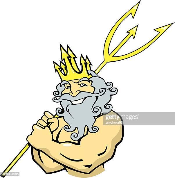 poseidon with trident - neptune roman god stock illustrations