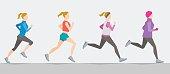 Poses of running girl. Seasonal trainings
