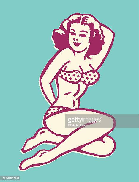 posing woman in bikini - pin up girl stock illustrations, clip art, cartoons, & icons