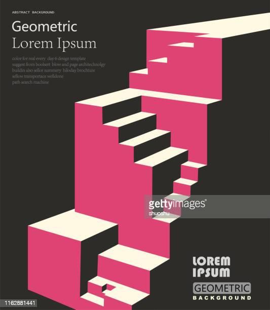 ilustrações, clipart, desenhos animados e ícones de positivo e acima do conceito, fundo geométrico do teste padrão do cubo - degraus