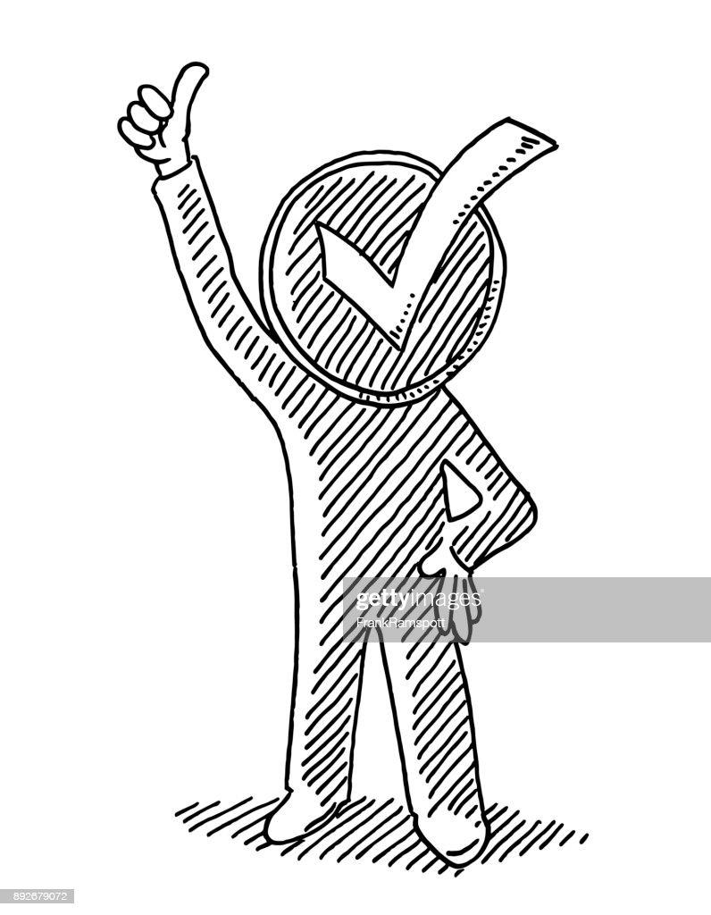 Positive Check Mark Man Drawing : stock illustration