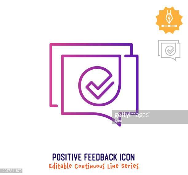 stockillustraties, clipart, cartoons en iconen met continue lijn van positieve feedback-regel bewerkende lijnlijn - feedback