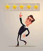 Positive five star feedback. Rating. Office worker businessman character