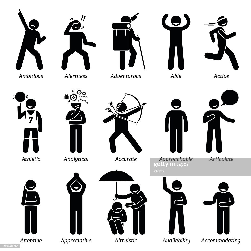 Positive Good Personalities Character Traits. Stick Figures Man Icons.