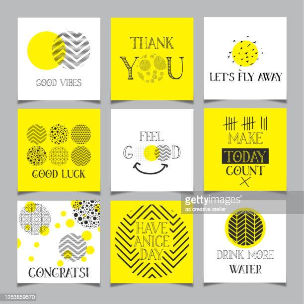 positive hand drawn quotes set - thanks quotes stock illustrations