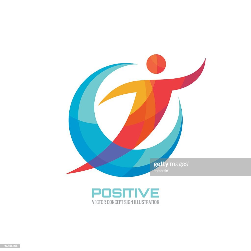 Positive - human in colored rings - creative sign