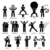 Positive Personalities Character Traits in Stick Figures. Starting with the Alphabet S.