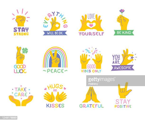 positive quotes with hand emojis - ok sign stock illustrations