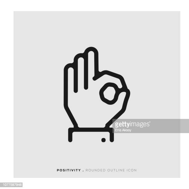 positivity rounded line icon - ok sign stock illustrations