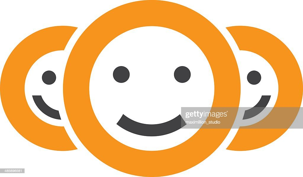 Positivity Smiley Circle Of Friendship Button App Logo Icon Stock
