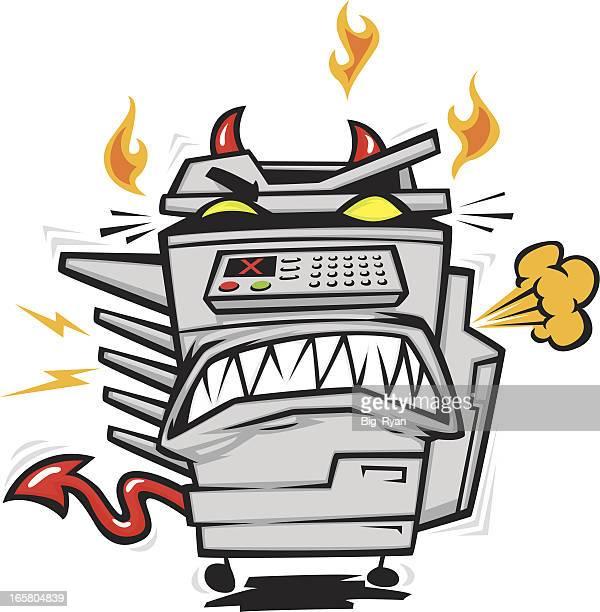 possessed copy machine - photocopier stock illustrations, clip art, cartoons, & icons