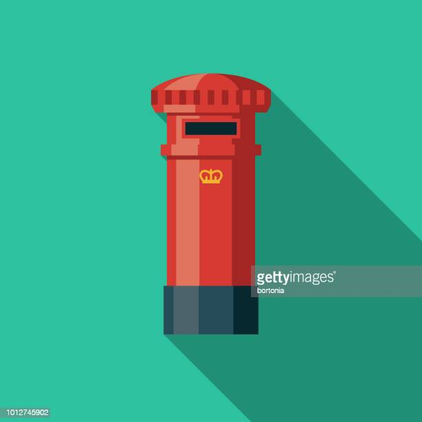 post box flat design united kingdom icon - mailbox stock illustrations