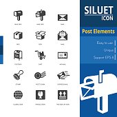 Post elements silhouette icon sets on white background.