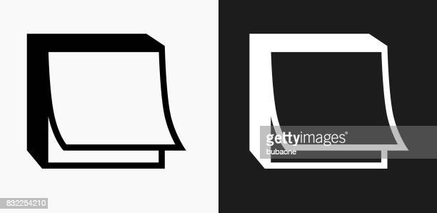 post it note icon on black and white vector backgrounds - post it stock illustrations, clip art, cartoons, & icons