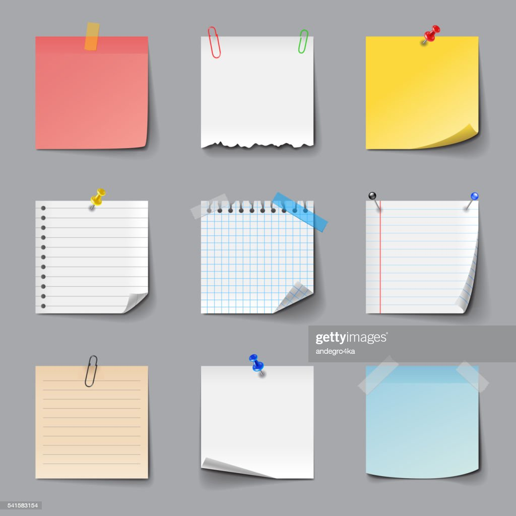 Post it notes icons vector set