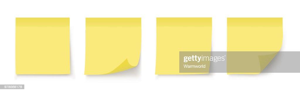 Post note sticker. Paper sticker on white background. Vector illustration