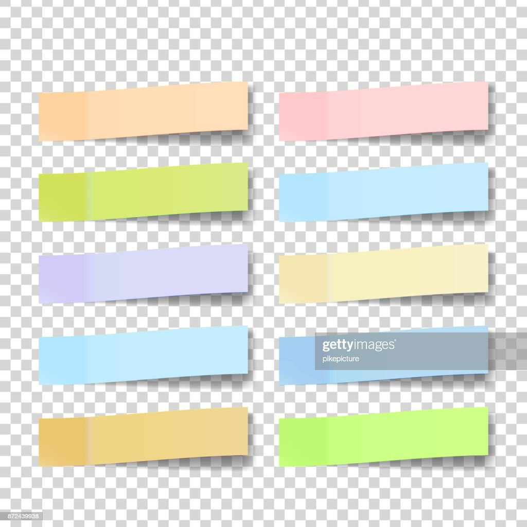 Post Note Sticker Vector. Color Sticky Notes. Isolated 3D Realistic Illustration