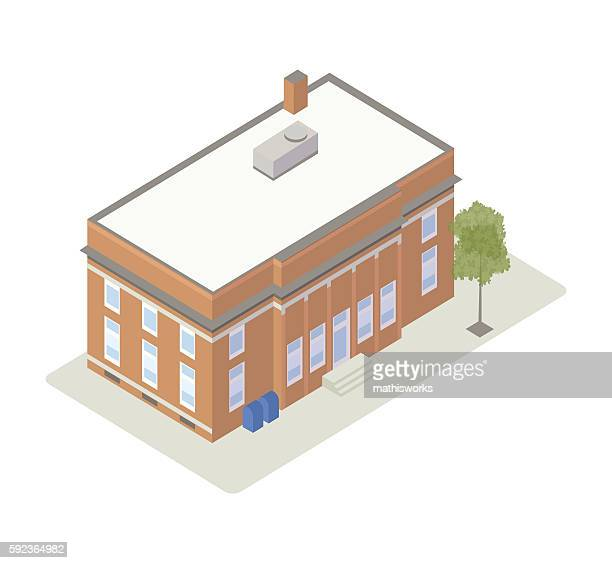 post office isometric illustration - post office stock illustrations, clip art, cartoons, & icons