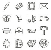 Post Office or Mail Man or Delivery Service Icons Thin Line Vector Illustration Set
